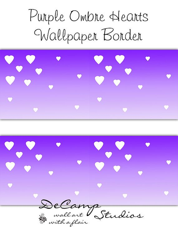 Purple ombre wallpaper border heart decals wall art - Purple ombre wall ...