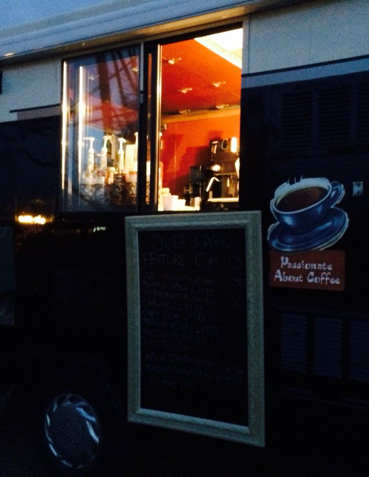 Overboard coffee truck at night