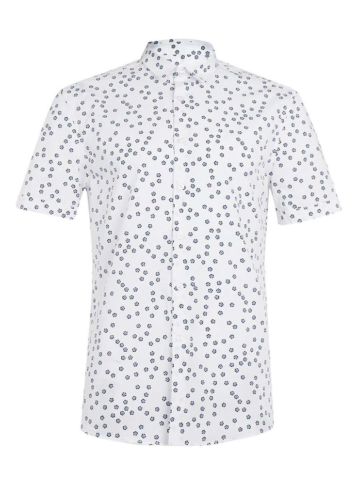 White Floral Print Short Sleeve Dress Shirt - Men's Collared Shirts - Clothing - TOPMAN USA