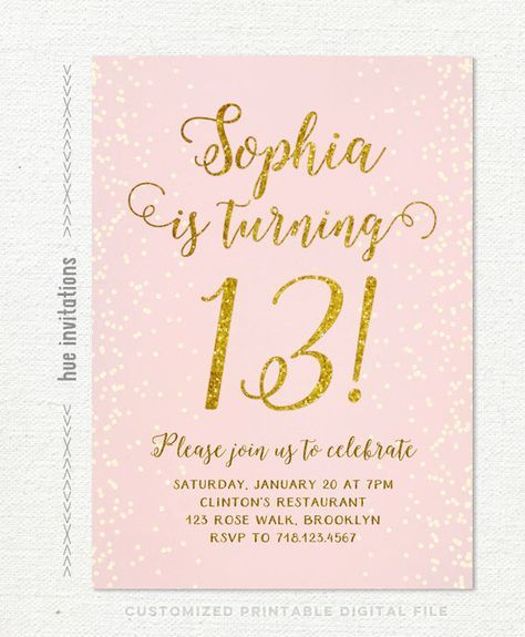 "13th birthday invitation for girl, pink gold teen birthday party invitations, blush pink gold glitter, rustic chic shabby confetti printable by hueinvitations on Etsy <a href=""https://www.etsy.com/listing/259359366/13th-birthday-invitation-for-girl-pink"" rel=""nofollow"" target=""_blank"">www.etsy.com/...</a>"