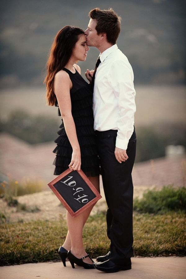 Save the date with chalkboard: Forehead Kiss, Chalkboards, Engagement Pictures, Save The Date, Engagement Photo, Photo Ideas, Cute Ideas, Engagement Pics, Date Ideas