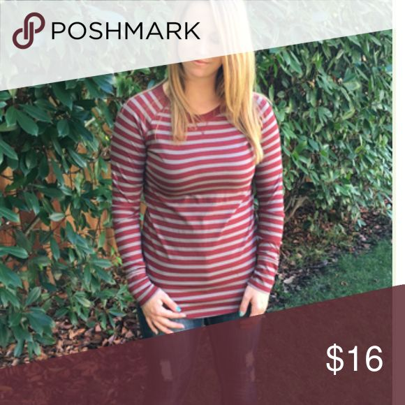 Burgundy Basic Stripe New! So comfortable and goes with everything! Tops Tees - Long Sleeve