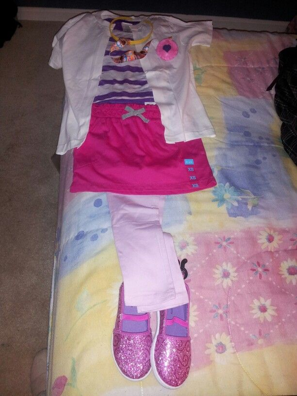 I have pieced together Doc McStuffins' outfit for my daughters upcoming party. The ""