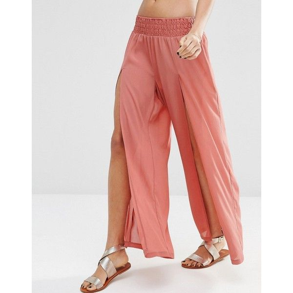 ASOS Split Beach Trouser Co-ord (120 SEK) ❤ liked on Polyvore featuring wide leg pants, wide leg beach pants, elastic waist pants, red trousers and red pants