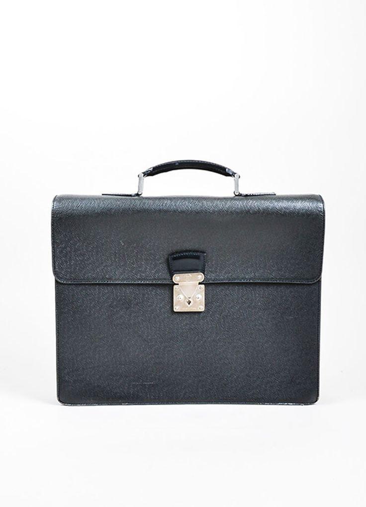 "Black Louis Vuitton Taiga Leather Accordian ""Kourad"" Dual Compartment Laptop Briefcase"