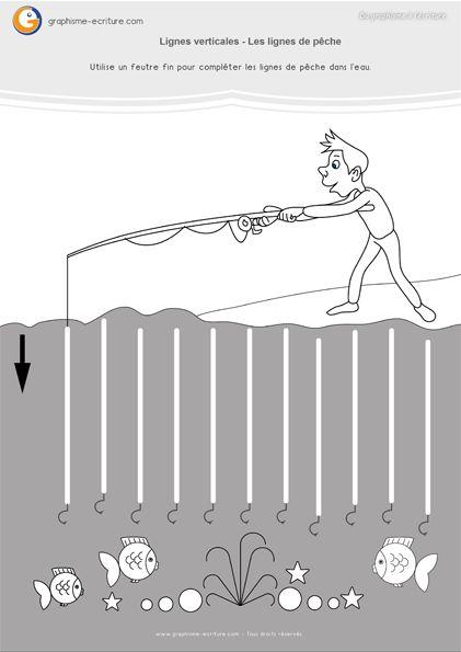 Graphisme MS Lignes verticales : Compléter la scène de pêche