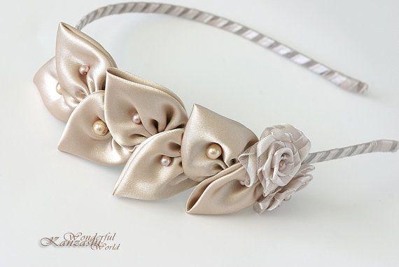 Kanzashi Stoff Blume Vintage Blatt Hochzeit von wonderfulkanzashi