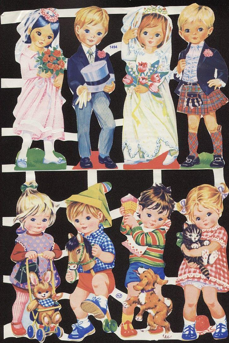 Vintage Die-cut Children Wedding and Kids with Animals (Image1)