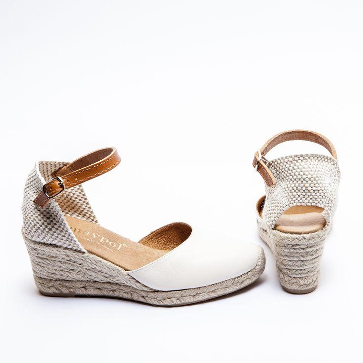 Cream Leather Closed Toe Espadrilles - Mid Wedge