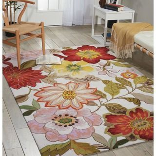 Shop for Nourison Hand-Hooked Fantasy Ivory Floral Rug (5' x 7'6). Get free shipping at http://Overstock.com - Your Online Home Decor Outlet Store! Get 5% in rewards with Club O!