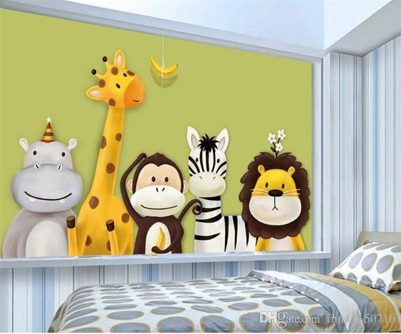 Custom Mural Wallpaper Childrens Room Bedroom Cartoon Theme Animals Painted Background Pictures Wall Decor Kids Wallpaper Roll Free Wallpaper Hd Free Wallpaper Wallpaper Childrens Room Wall Decor Pictures Kids Wallpaper