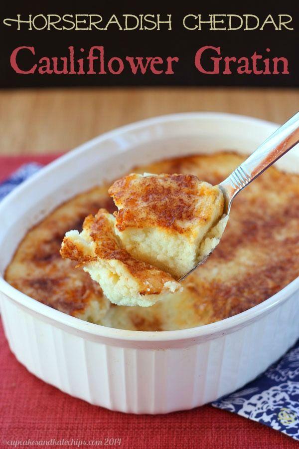 Horseradish Cheddar Cauliflower Gratin - a light and cheesy vegetable side dish with a little kick| cupcakesandkalechips.com | gluten free
