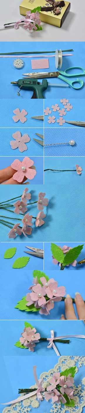 DIY Handmade Pink Felt Flower Bouquet