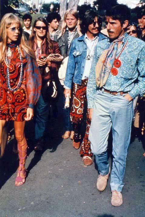 George and Pattie with Beatles press officer/assistant Derek Taylor in Haight-Ashbury San Francisco - Aug 7,1967 - Summer of Love
