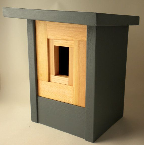 This contemporary artisan birdhouse is made of rescued solid spruce clear, resurfaced to give new life. The front has a non-toxic teak finish, bringing the spectrum of the natural color of the wood. The body of the aviary was terminated with a storm cloud blue low VOC solid stain, which shines through the natural texture of the cedar. Suitable for outdoor or as a large indoor decoration. If you have another color on the body …