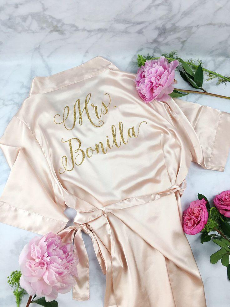 Bride Robe - Wedding Day Robe - Glitter Bridal Robe - Bride Satin  - Bridal Lingerie Shower Gift - Bridesmaid Robe -Blush Robe by ShadesOfPinkBtq on Etsy https://www.etsy.com/listing/468279503/bride-robe-wedding-day-robe-glitter