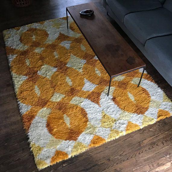 60s 70s Op Art Danish Area Rya Rug De Lux 94 x 69 Studio Carpet Rug Yellow Orange Swirls Mid-Century Ege