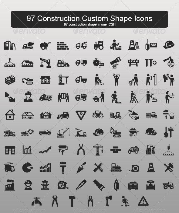97 Construction Custom Shape Icons - Objects Shapes