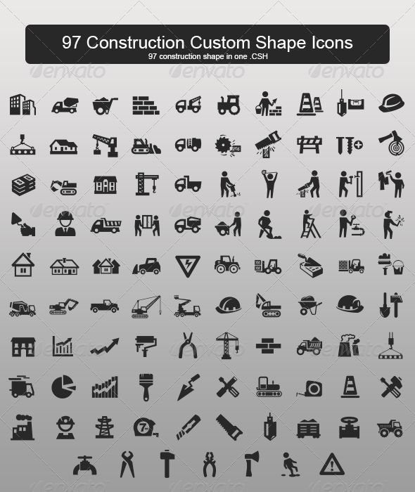 97 Construction Custom Shape Icons - Objects Shapes
