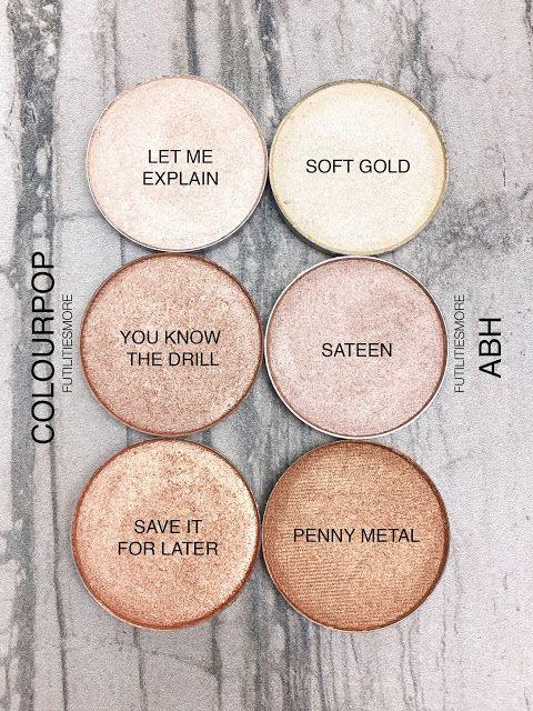 HIGHLIGHT SHADES: Colourpop VS Anastasia Beverly Hills eyeshadows