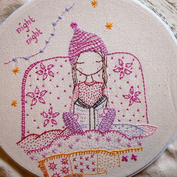 night night hand embroidery pattern pdf by LiliPopo on Etsy