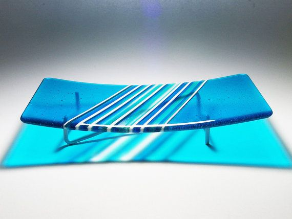 Water Blue Rectangular Feature Fused Glass Plate by RocketRoseArt