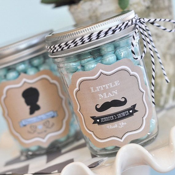 24 Personalized VINTAGE Baby Shower MUSTACHE Little Man Mini Mason Jar FAVORS...Over 16 Designs to Choose From! Boy or Girl!