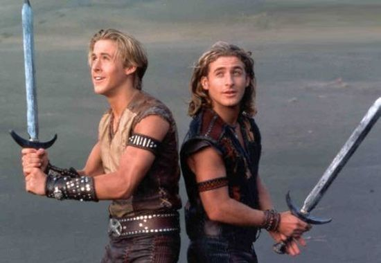 Ryan Gosling as Hercules and Dean O'Gorman as Iolaus in 'Young Hercules' (1998-1999).