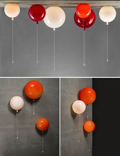 Foto: Palloncini di vetro per illuminare la camera del tuo bambino!!! Light up your child's room with this colorful collection of glass balloon lights! The hanging cord is used to turn the lights on and off. So fun! | Handmade Charlotte