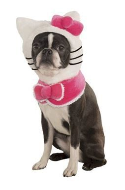 Who says cats and dogs can't get along? Dress your beloved pet in this Hello Kitty costume for Halloween.
