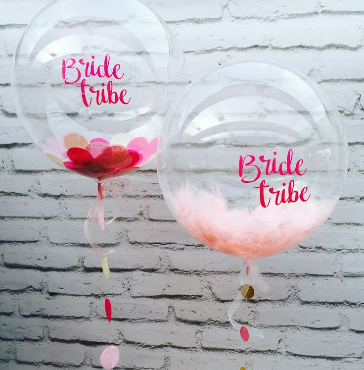Bride Tribe hen party pink feather and pink confetti balloons by The Feather Balloon Company
