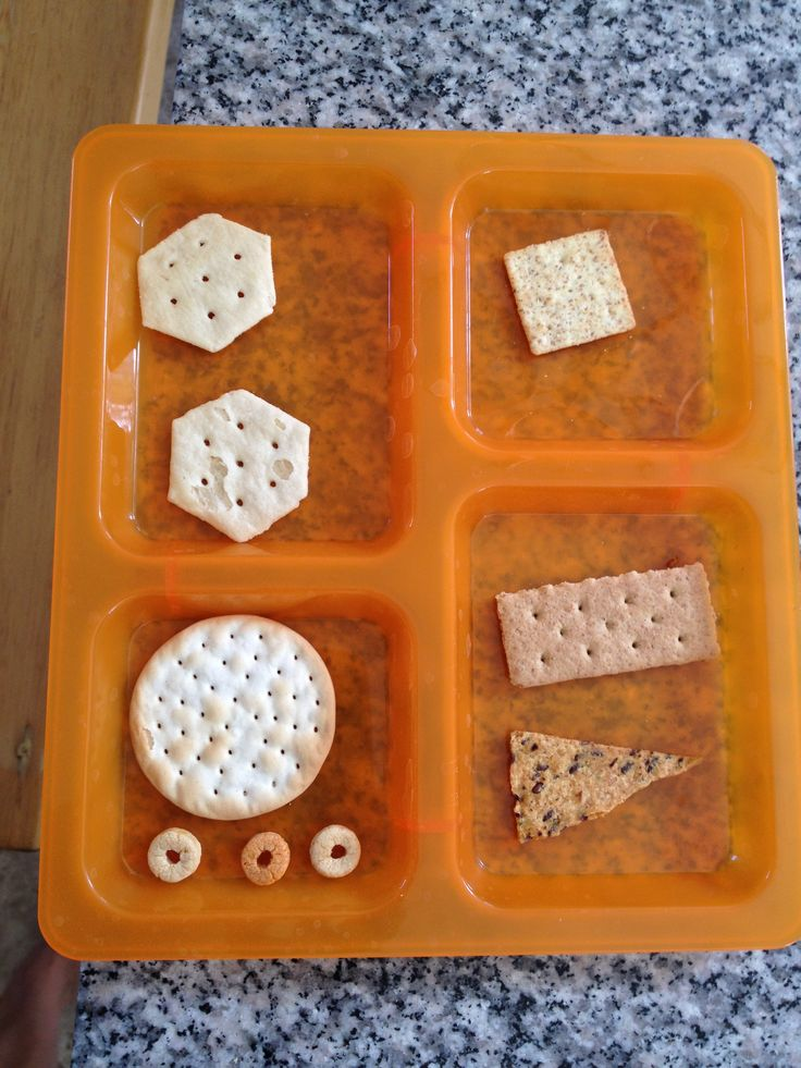 SHAPES: shape snack - go through cabinet and get one various crackers/chips/cereals and identify what shapes they are