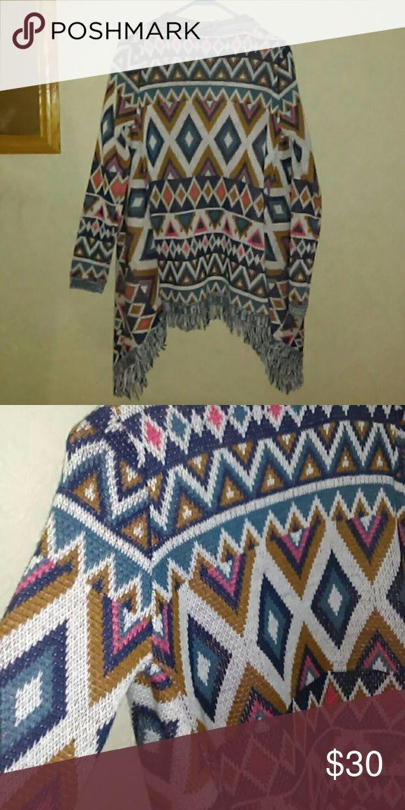 Aztec Print Cardigan Knitted Arizona Jean Company Sweaters Cardigans