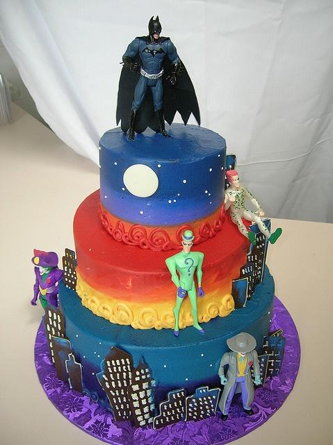 Batman & Villains in gotham city cake