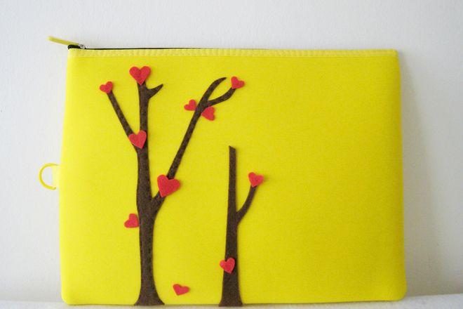 Yellow Padded Pouch. Ipad Zipper Pouch - S$33.90 : Singapore / Asian Handmade #artdew