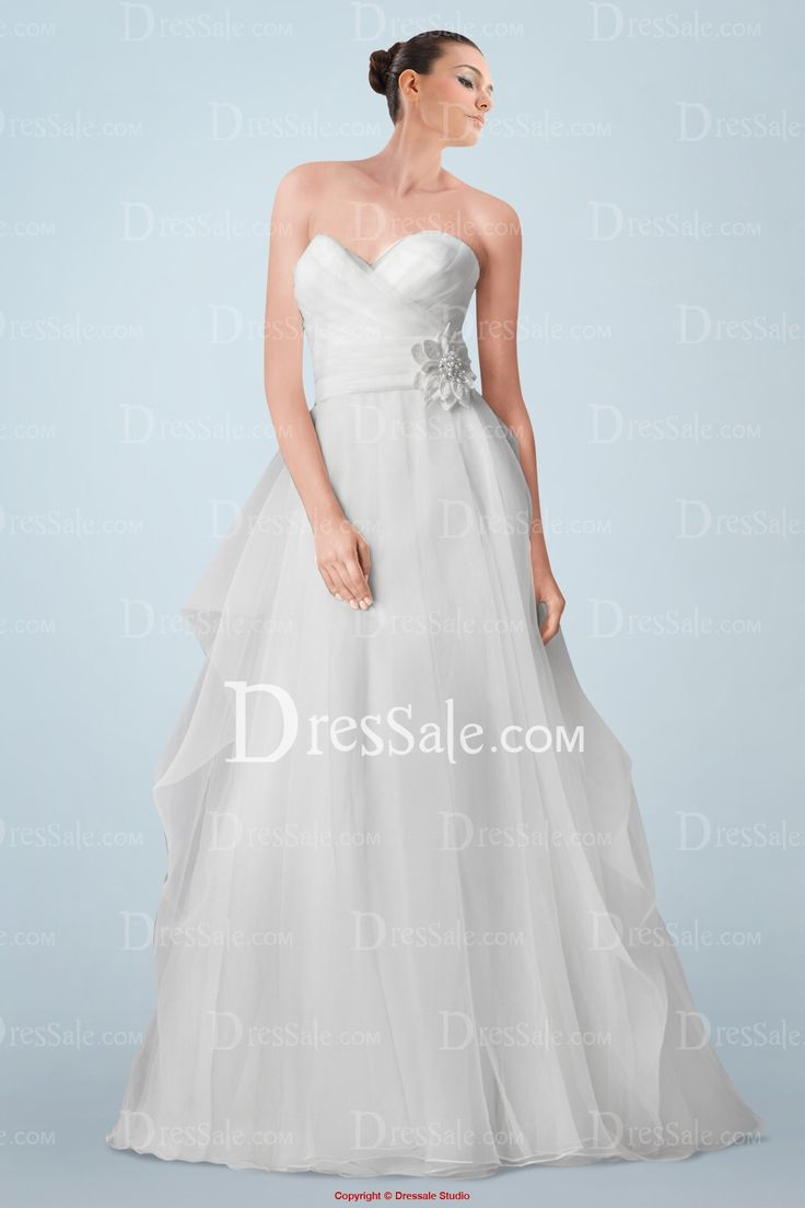 Fairytale Strapless Organza Wedding Gown with Beaded Flower and Pick-ups