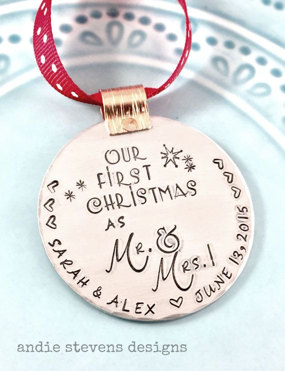 Hand Stamped Ornament  Personalized by andiestevensdesigns on Etsy