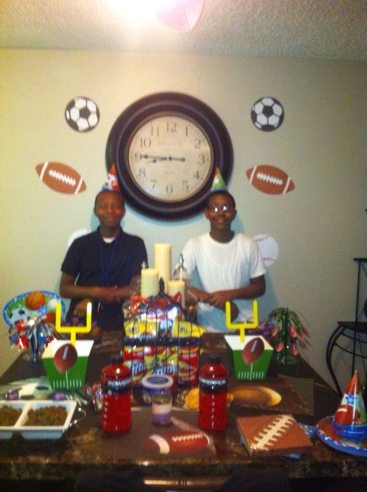 Sports party with my nephews. Frito pies, snicker bars etc.