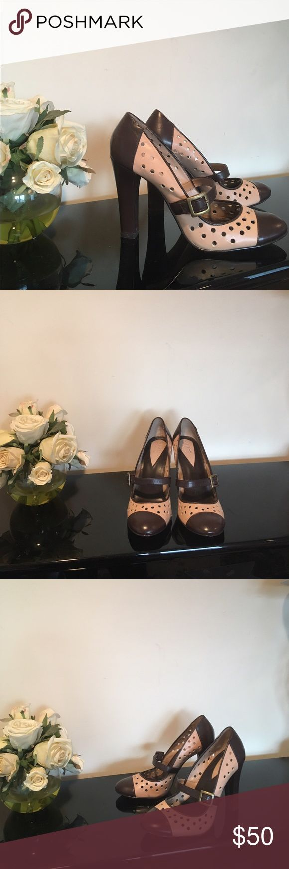 """Guess by Marciano leather pumps Guess by Marciano women's leather pumps. Used in good condition. Brown leather with cream. Size 6.5, approx 4"""" heel. No box. Guess by Marciano Shoes Heels"""