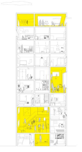 fig.1 提供:成瀬・猪熊建築設計事務所成瀬──本日はシンポジウム「集まって住む、を考えなおす」にお越し頂き、ありがとうございます。成瀬・猪熊設計事務所の成瀬です。7階で開催中の展覧会「集まって住む、を考えなおす」でシェアハウスの展示をしています[fig.1]。今日はこれをネタに、先輩方にお話を伺いながら、これからの「集まって住む」ことを考えていきたいと思います。3人のゲストとモデレーターをお呼