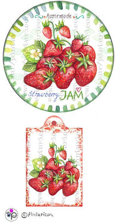 Circle jam label strawberry jam label printable by Pinturicon