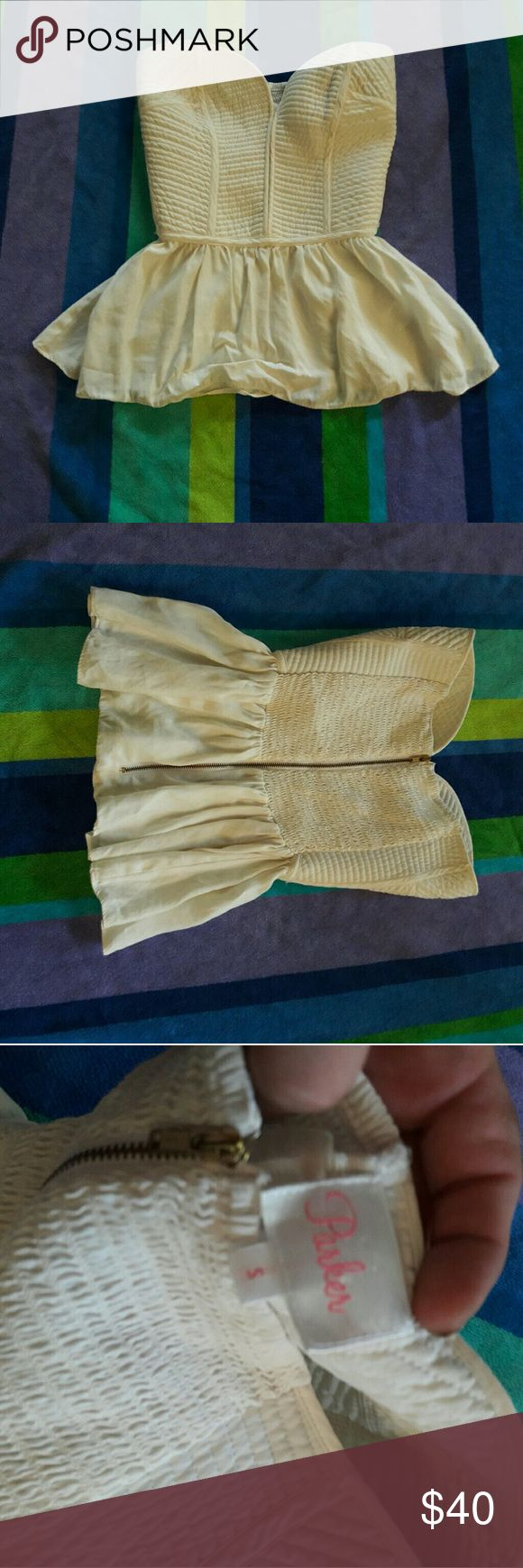 Cream parker corset top strapless Like new cream parker strapless corset top.  Like new. Parker Tops Blouses