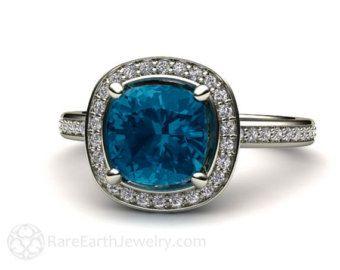 Londra topazio azzurro anello Londra alone blu di RareEarth