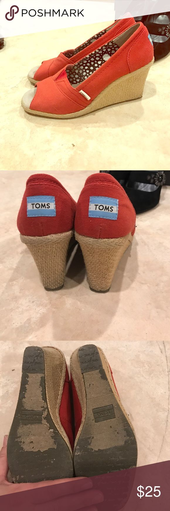 Red toms wedge Red toms wedges size 8. Worn one summer TOMS Shoes Wedges
