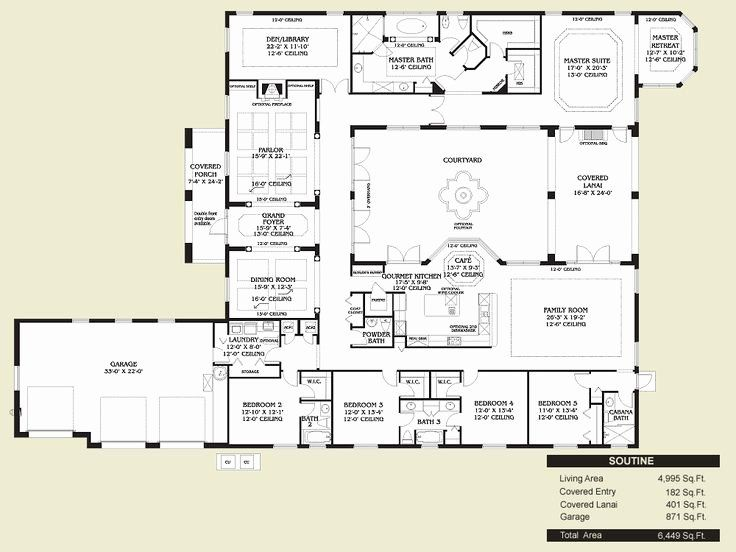 Spanish Hacienda House Plans Lovely Spanish Style Home Floor Plans Home Designs In 2020 Courtyard House Plans House Floor Plans Spanish Style Homes