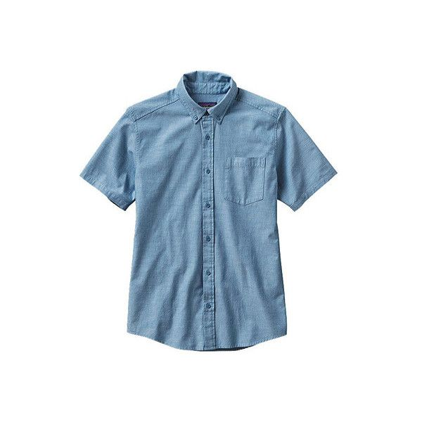 Men's Patagonia Bluffside Shirt - Chambray: Catalyst Blue Short Sleeve... ($69) ❤ liked on Polyvore featuring men's fashion, men's clothing, men's shirts, men's casual shirts, mens slim fit casual shirts, mens long sleeve button down shirts, mens button down shirts, mens blue shirt and mens short sleeve shirts