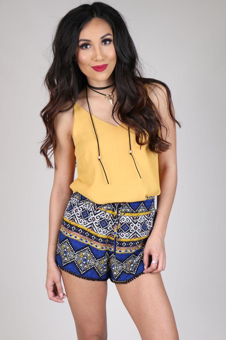Royal Blue & Yellow Printed Drawstring Shorts