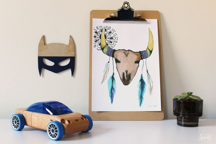 Boys room decor Wooden car... Lucas loves cars Superhero mask... Shartruese Tribal Cow skull print... Miles and Tate