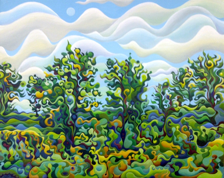Trees Cheering up the Moon  24 x 20  Acrylic on Canvas