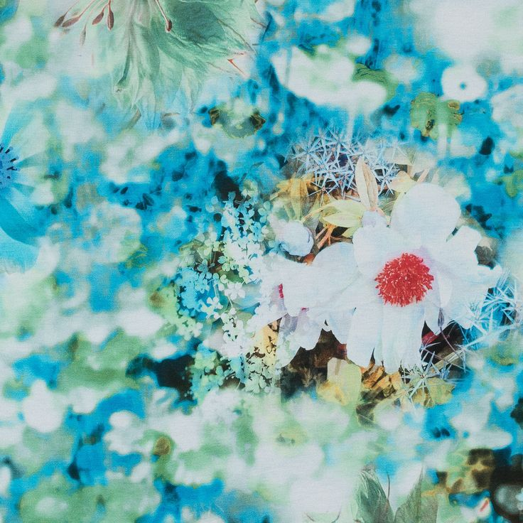 Italian Green and Blue Floral Printed Rayon Jersey | Mood Designer Fabrics